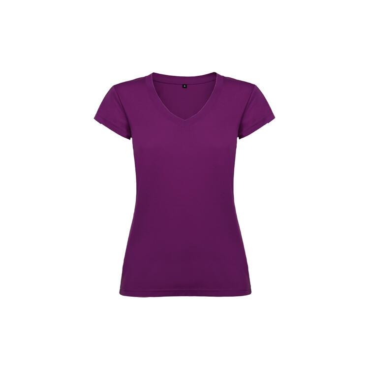 T-shirt donna scollo a V porpora colore 71 manica corta