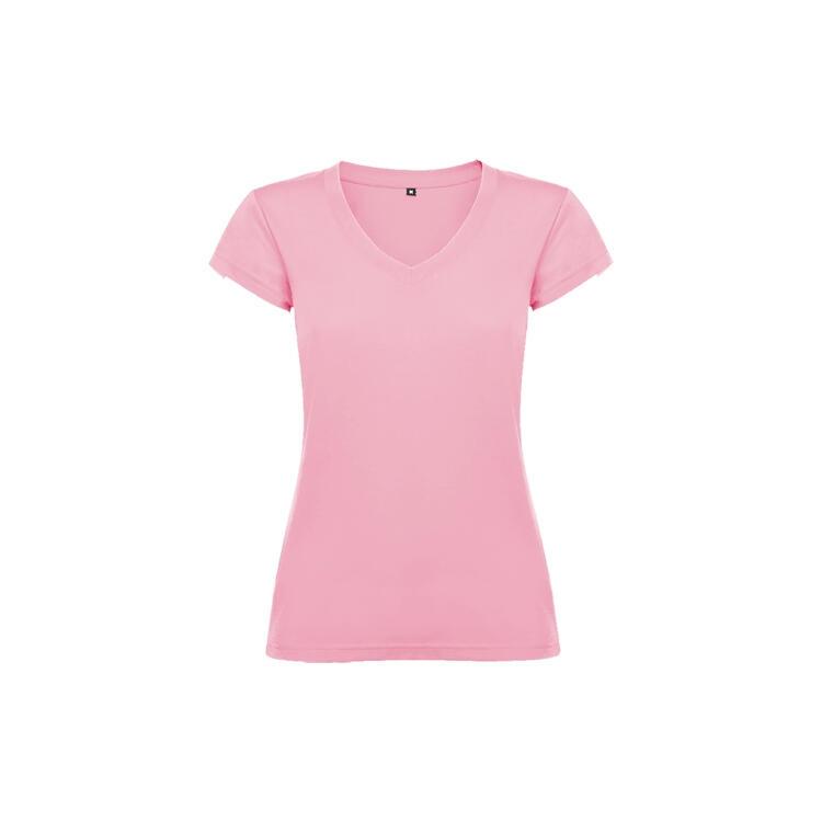 T-shirt donna scollo a V rosa chiaro colore 48 manica corta
