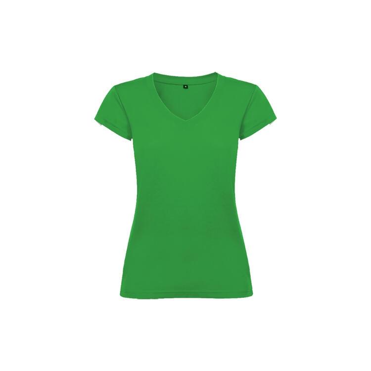 T-shirt donna scollo a V verde tropicale colore 216 manica corta