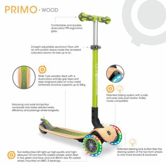 Monopattino Pieghevole PRIMO FOLDABLE WOOD LIGHTS di Globber con Ruote Anteriori al LED, Vari Colori