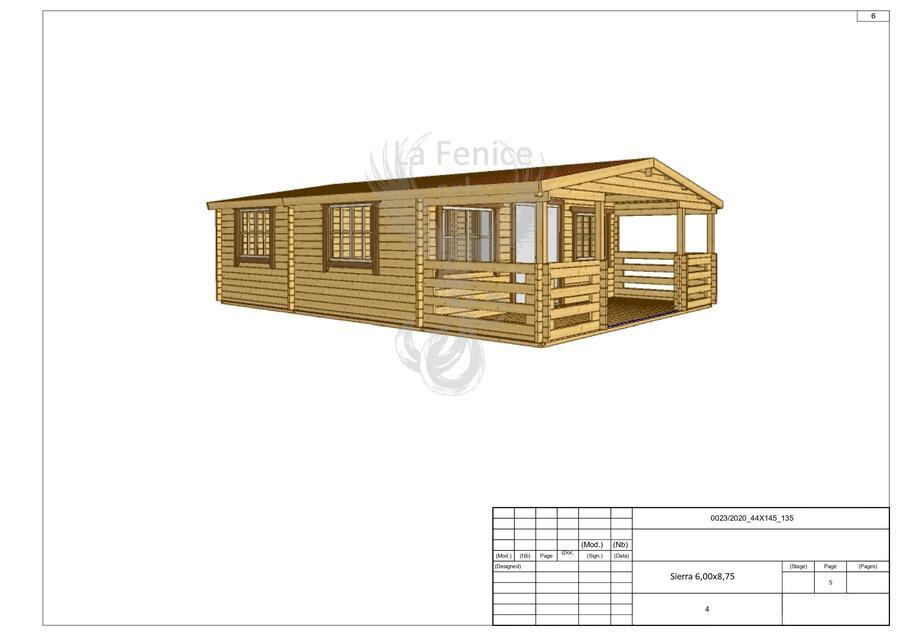 Casetta in legno 6,00 m x 8,75 m - Mod. Sierra  - 44 mm