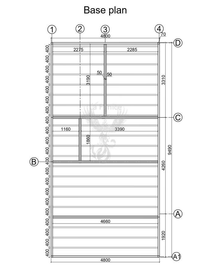 Casetta in legno 5,00 m x 9,70 m - Mod. Fiuggi - 44mm