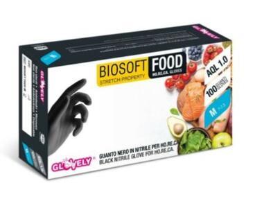 BIOSOFT Food 100 Guanti in Nitrile Nero Senza Polvere Taglia S