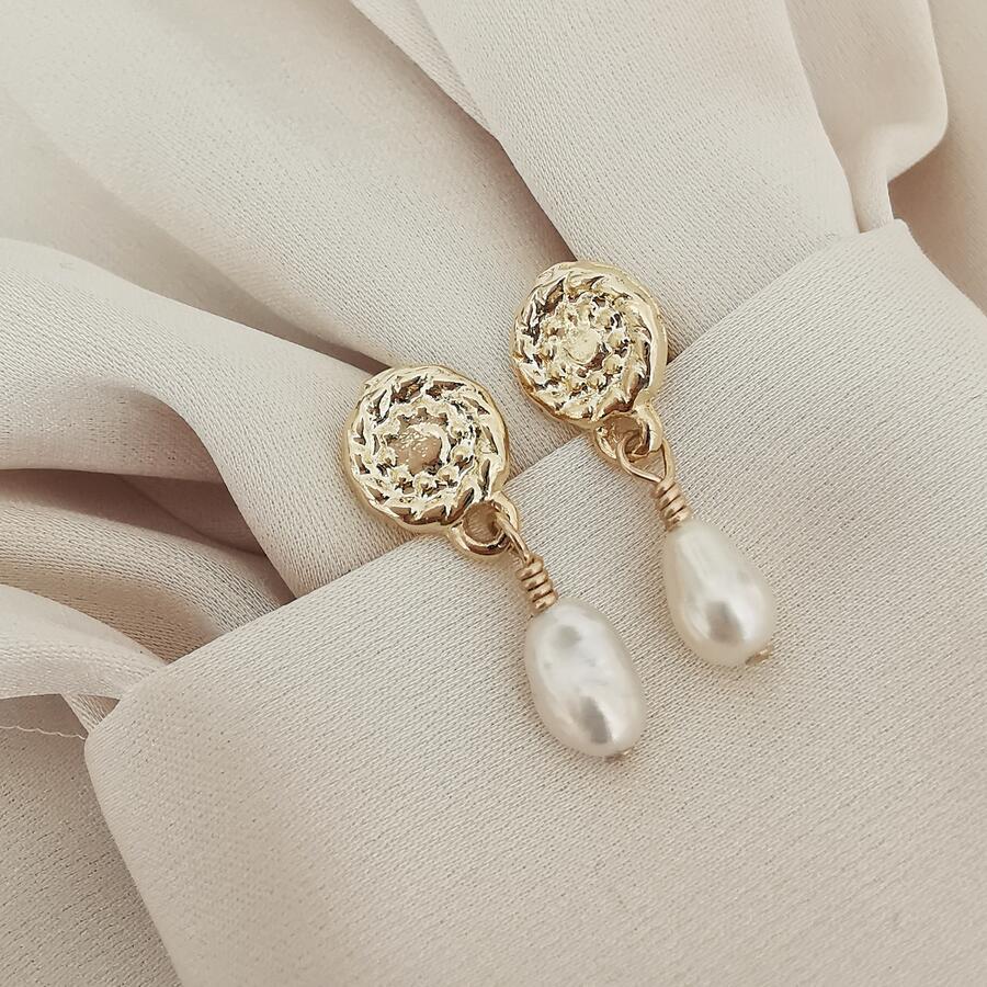 Orecchini baby in gold filled con perla