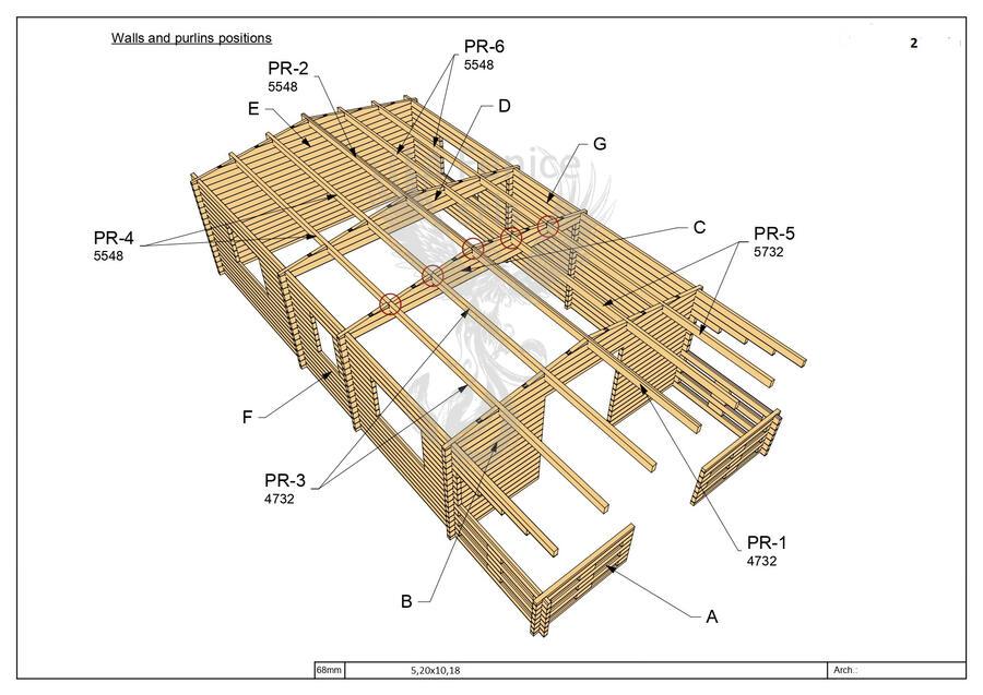 Casetta in legno 5,20 m x 10,20 m - Mod. Ticino - 68mm - Unico vano