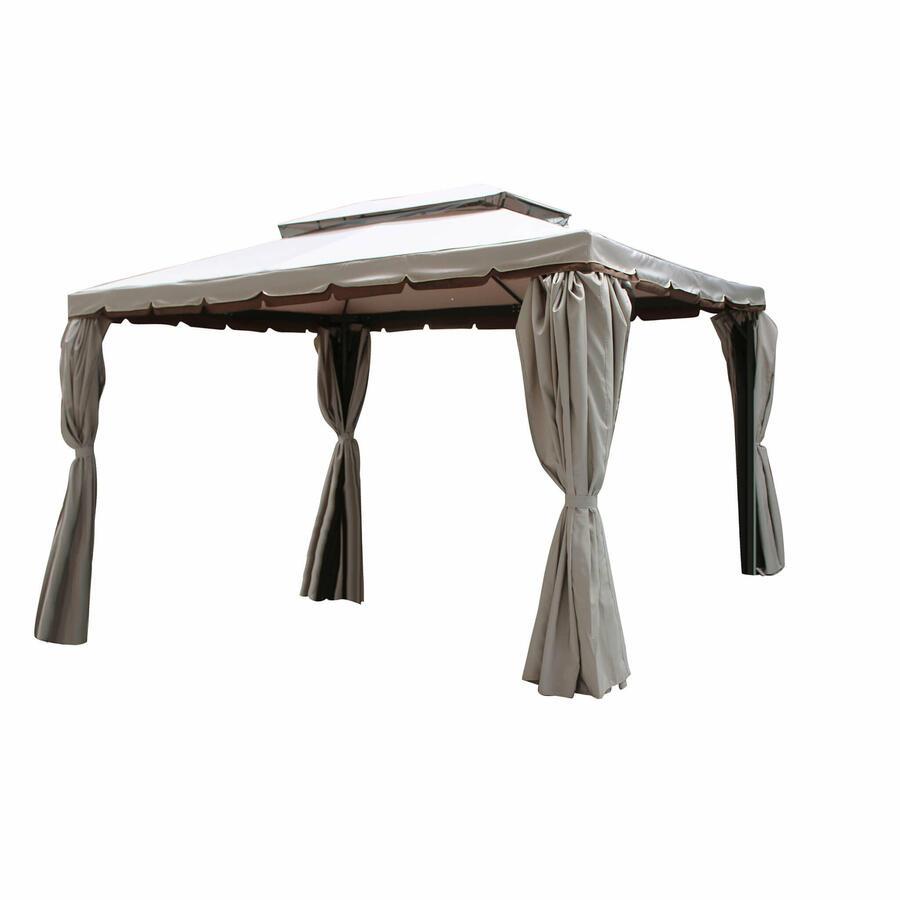 Gazebo da giardino ANANAS 34 in alluminio completo di tende e zanzariere PESANTE