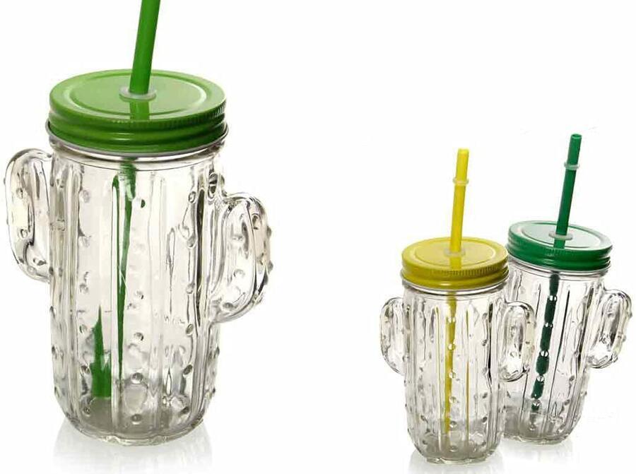 Set 4 Bicchieri con Cannuccia in Vetro Trasparente Barattoli Brocca Forma Cactus Bicchiere Barattolo Bevande Cocktail 400 ML Colori Assortiti