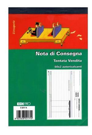 BLOCCO NOTA DI CONSEGNA TENTATA VENDITA 50 X 2 AUTORICALCANTI E5217A EDIPRO