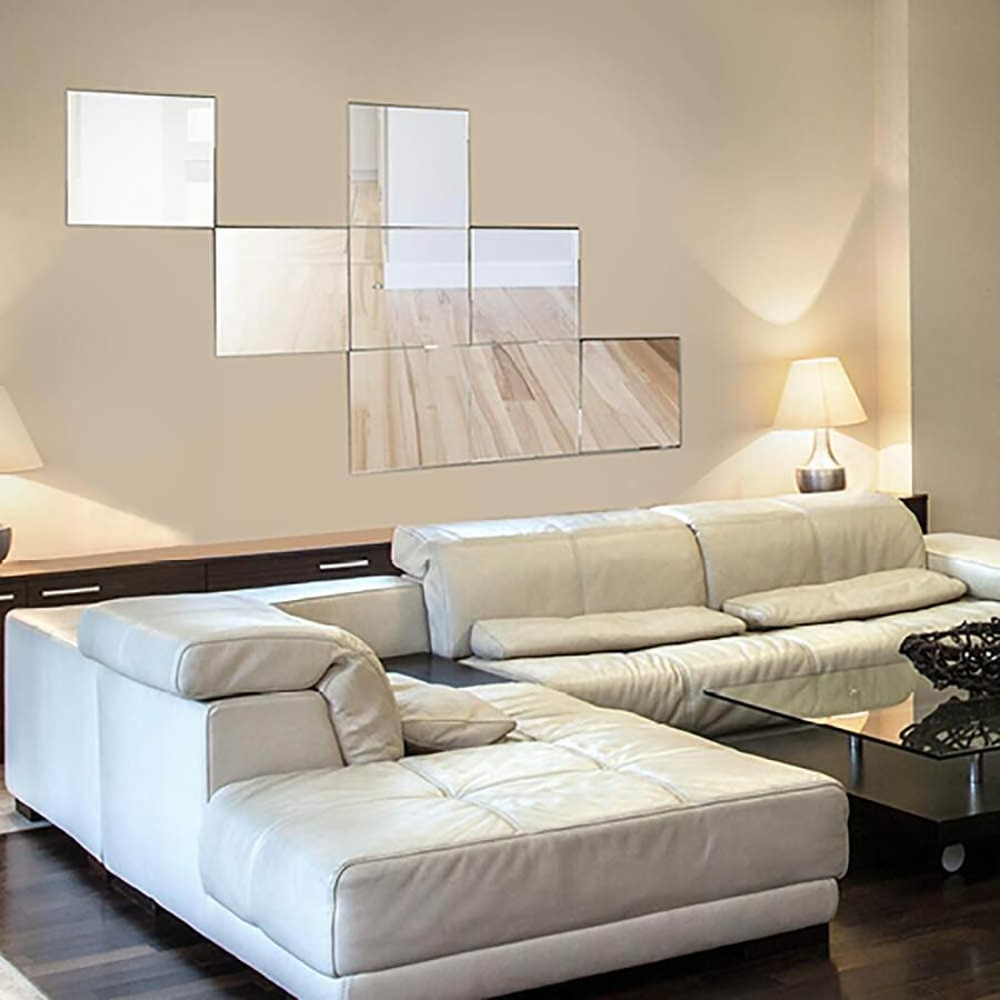 4 Specchi da Parete Adesivi Specchio Vetro Adesivo Quadrato Cubo Arredo Casa Ingresso Camera Salone Pub Ufficio Decorazione da Muro 15x15x2 cm