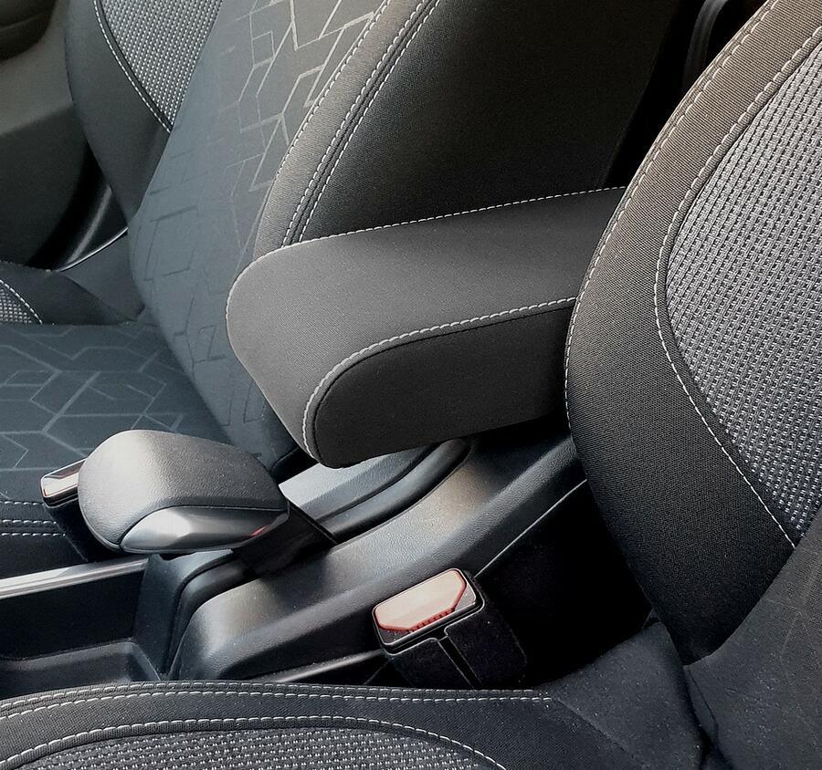 Bracciolo regolabile per Peugeot 2008 (2013-2019) con cuciture colorate e cerniera ricoperta