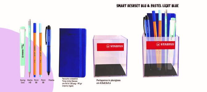 SMART DESKSET BLU & PASTEL LIGHT BLUE  NOTES QUADRETTI