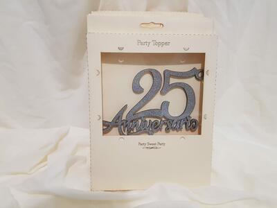 Anniversario cake topper argento 25 anniversario