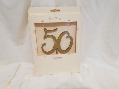 cake topper numero  50 glitter oro