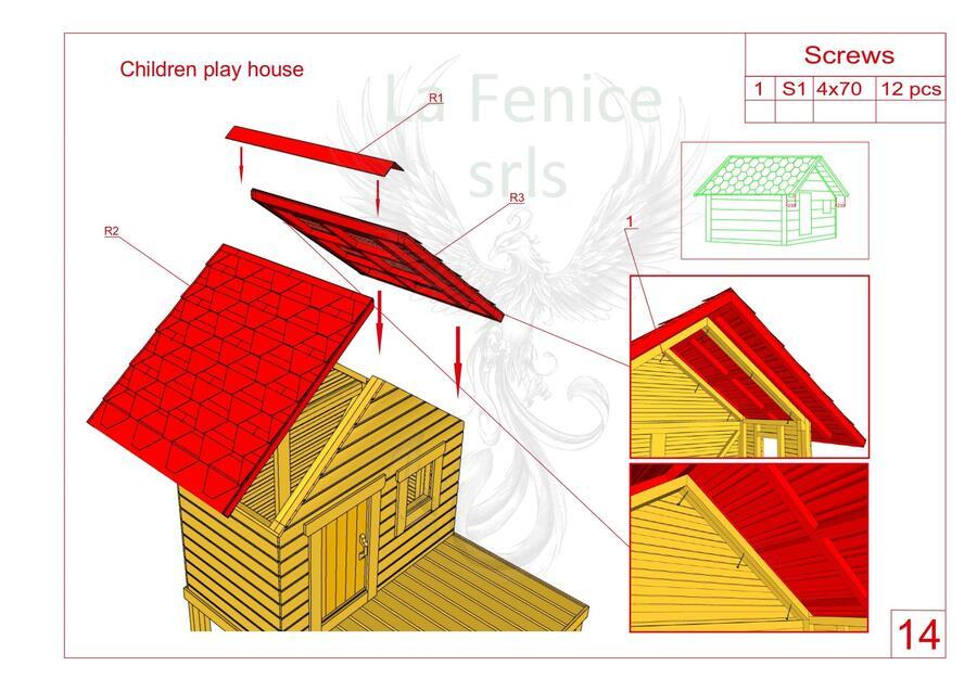 Casetta in legno per bambini Forky 2,10 m x 1,80 m con scaletta,verandina,sabbiera e scivolo - 45mm