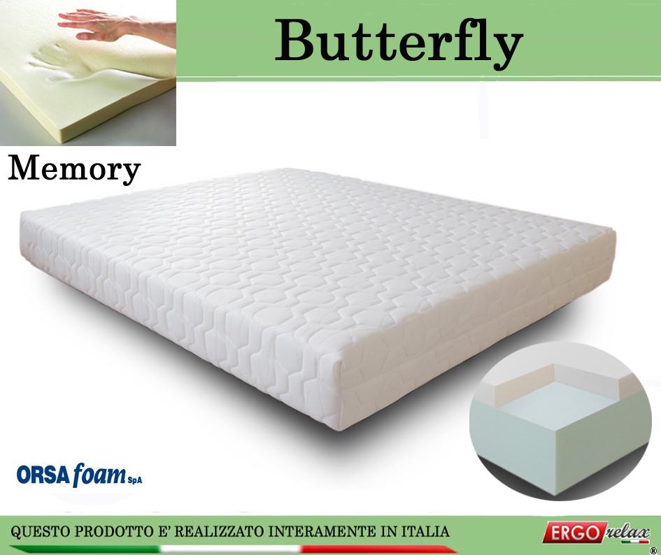 Materasso Memory Mod. Butterfly da Cm 90x190/195/200 Anallergico Sfoderabile Altezza Cm. 21 - Ergorelax