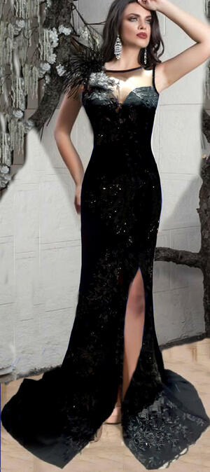 0707 LONG SIREN DRESS IN ELASTIC CREPE FABRIC WITH TULLE AND MACRAME 'SIDE