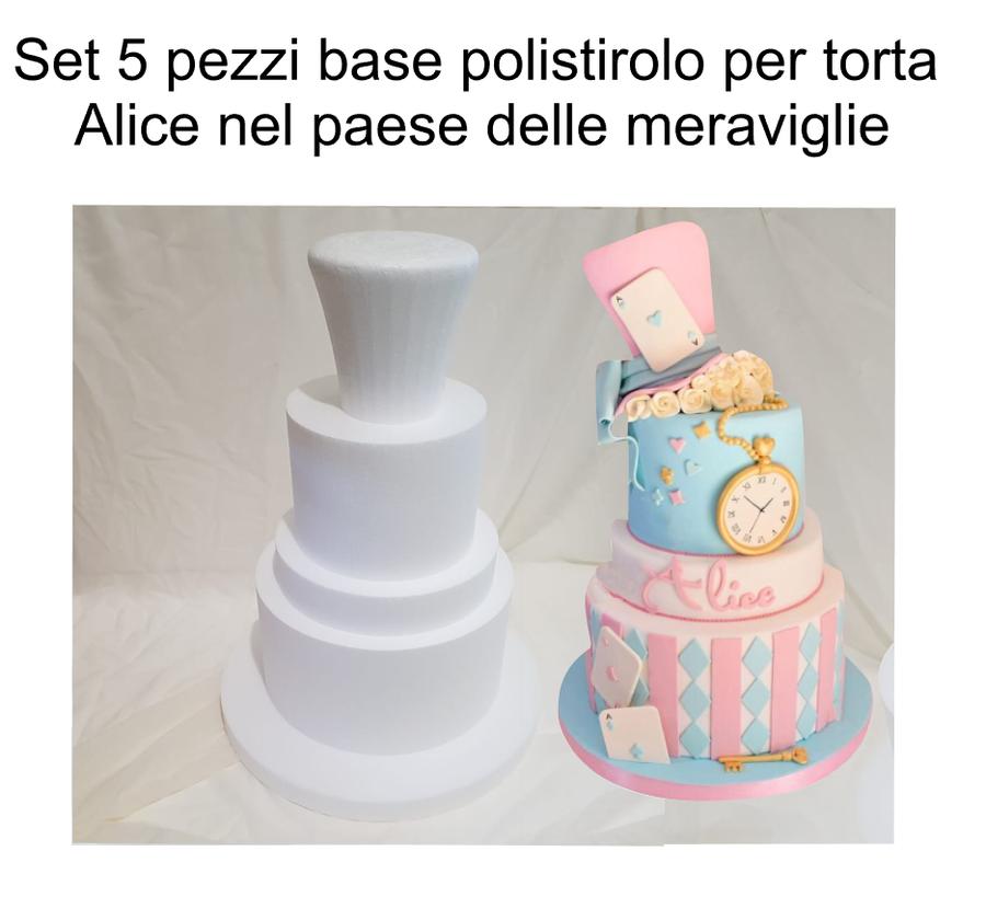 Set 5 pezzi base polistirolo torta Alice nel paese delle meraviglie