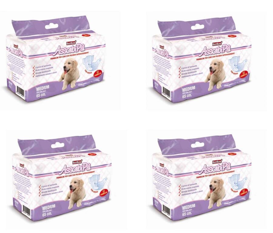 72 Pannolini a Mutandina Per Cani Large M Maschi Femmine Elasticizzati 6 Pacchi da 12
