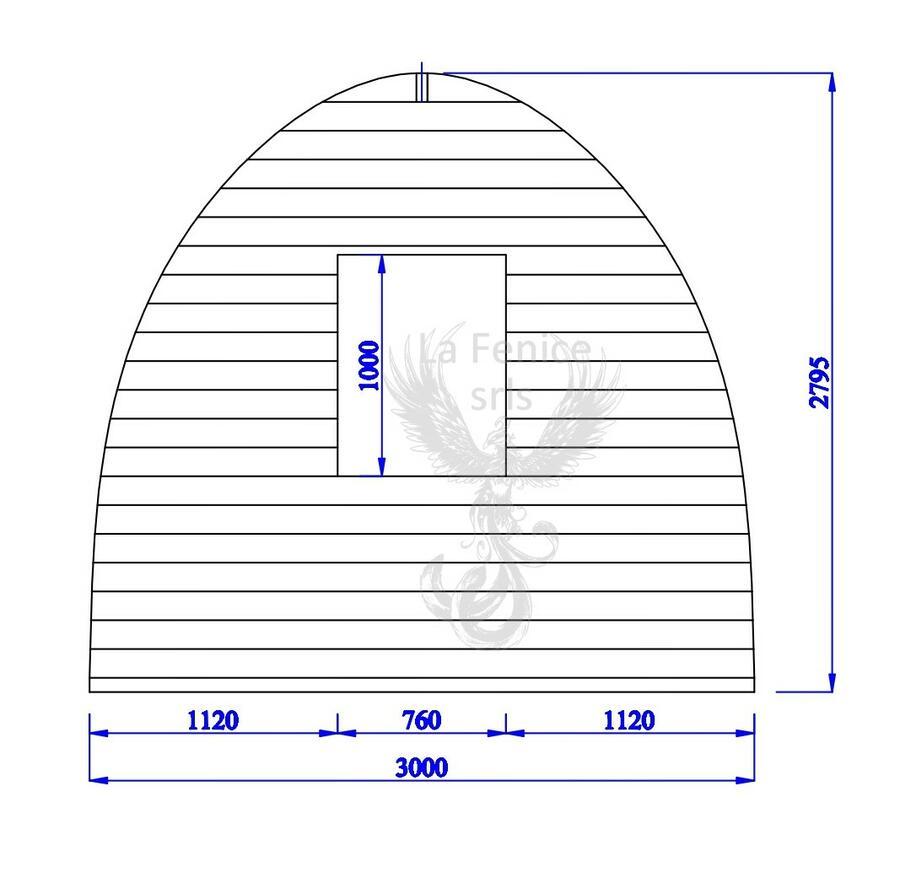 Camping Pod in legno di abete rosso nordico Mod. Campo Base 3,00 x 6,00 - 44mm