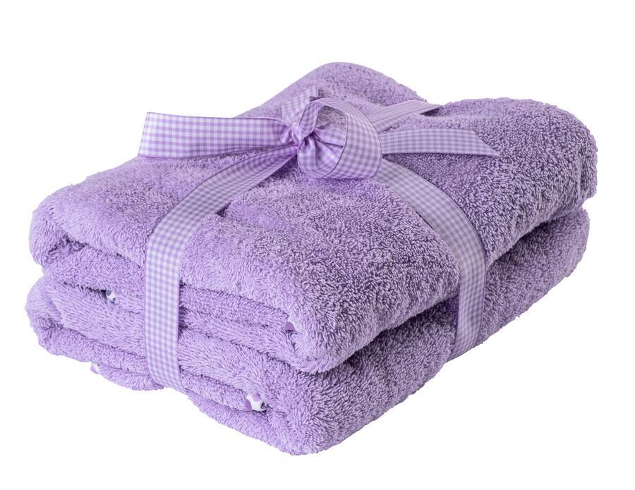 Asciugamano Neonati e Bambini 65x85 cm Lilla con Bordo a Pois