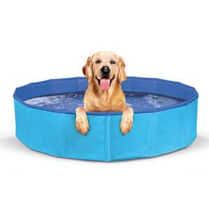 Piscina Per Cani Pieghevole Blu in Pvc 120x30 cm Antiscivolo Portatile Taglia L