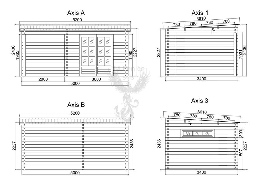 Casetta in legno 5,00 m x 3,00 m - Mod. Lisbona - 44mm