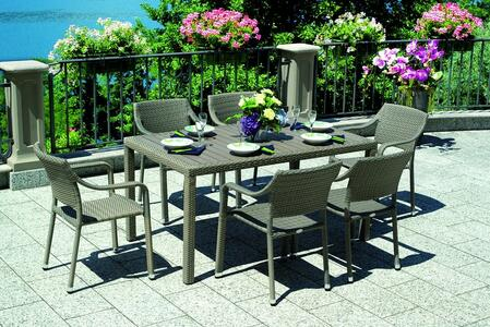 KIT PRANZO Tavolo da giardino BORDEAUX fisso 150x90 piano resin wood rattan sintetico avana RTW 56A + 6 SEDIE AVANA