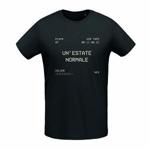 """T-shirt Black """"UN'ESTATE NORMALE"""" Stampa vintage sabbia"""