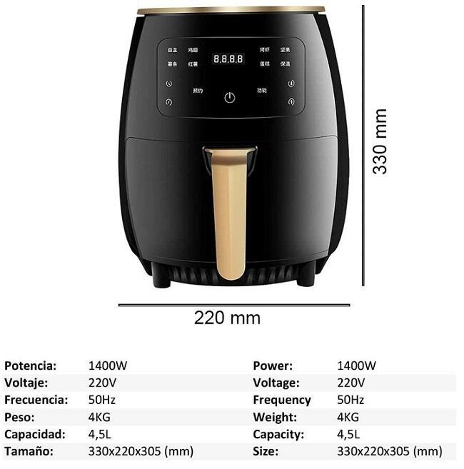Friggitrice ad aria intelligente 4.5 Litri  1400w multifunzione