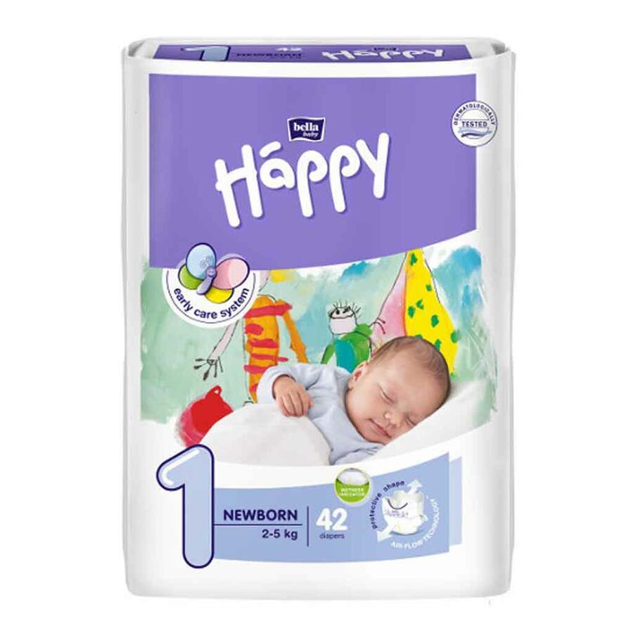 Pannolini Happy 1 NEWBORN 2-5 Kg - 42 pz