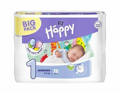Pannolini Happy 1 NEW BORN 2-5 Kg - BIG 78 pz