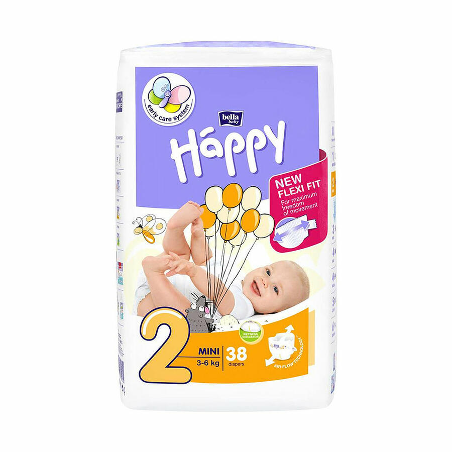Pannolini Happy 2 MINI 3-6 Kg - 38 pz