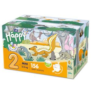 Pannolini Happy 2 MINI 3-6 Kg BOX 156 pz