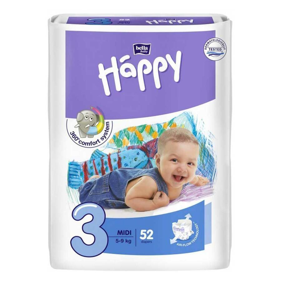 Pannolini Happy 3 MIDI 5-9 Kg - 52 pz