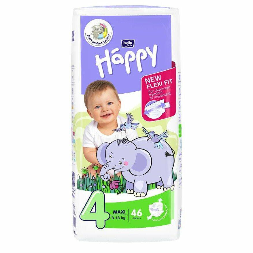 Pannolini Happy 4 MAXI 8-18 Kg - 46 pz