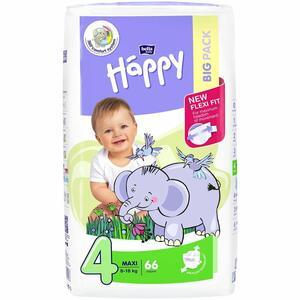 Pannolini Happy 4 MAXI 8-18 Kg - BIG 66 pz