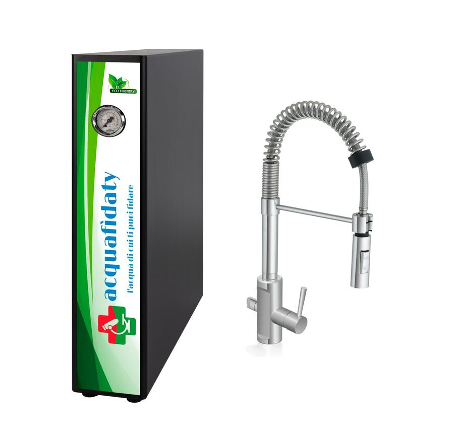 Depuratore acqua osmosi inversa Acquafidaty Elite e miscelatore 3 vie Es.