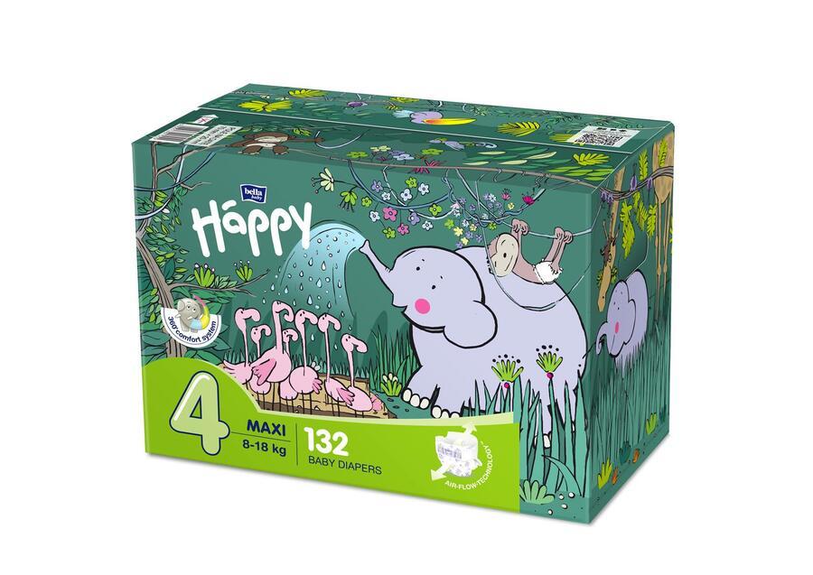 Pannolini Happy 4 MAXI 8-18 Kg - BOX 132 pz