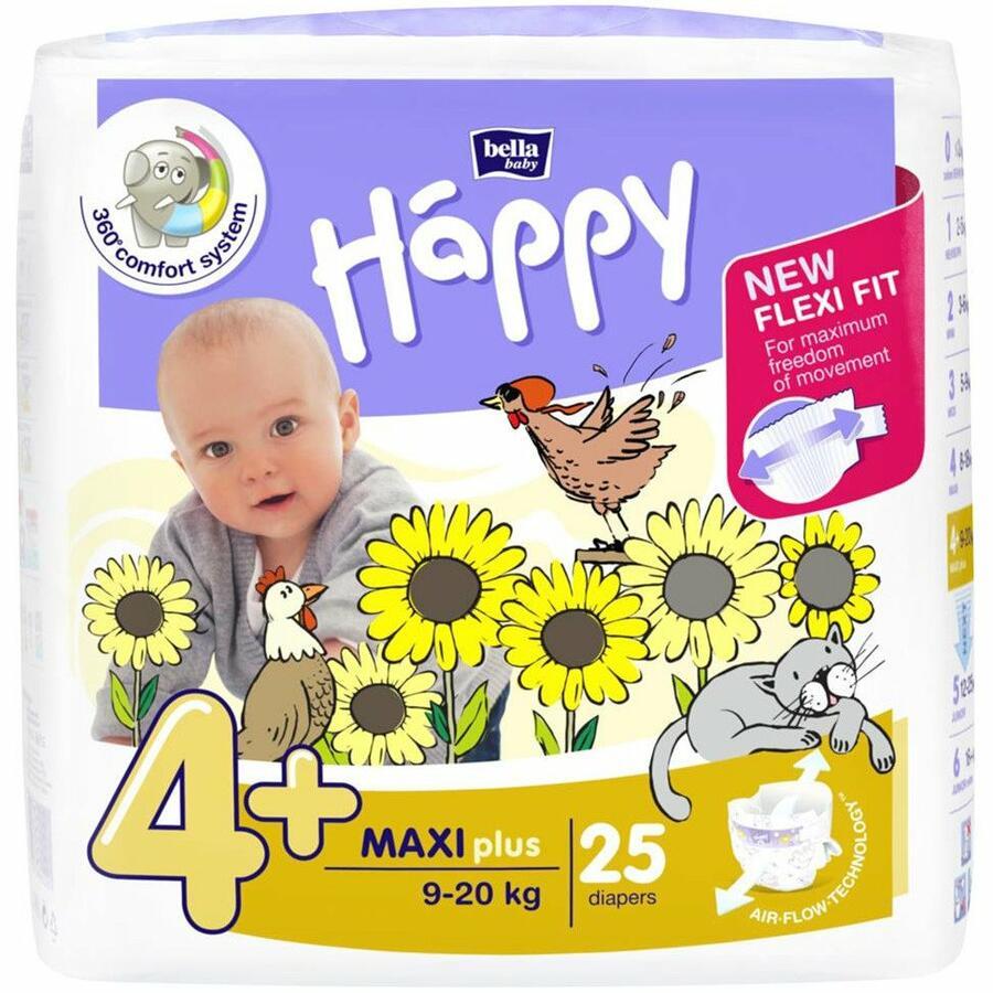 Pannolini Happy 4+ MAXI PLUS 9-20 Kg - 25 pz