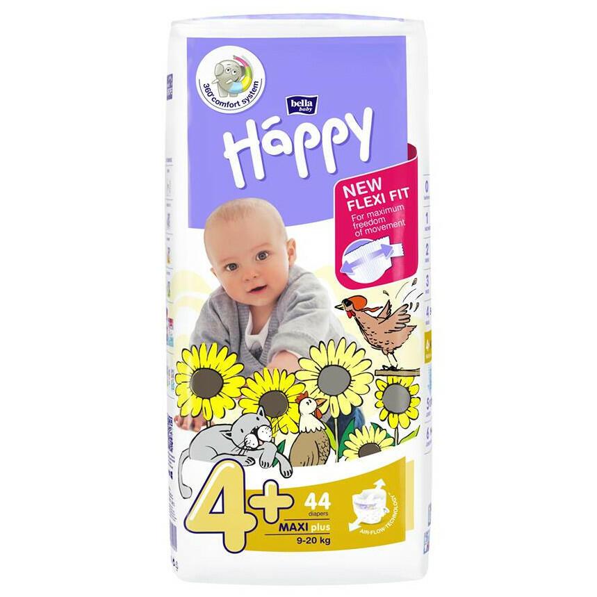 Pannolini Happy 4+ MAXI PLUS 9-20 Kg - 44 pz