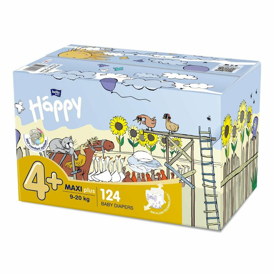 Pannolini Happy 4+ MAXI PLUS 9-20 Kg - BOX 124 pz