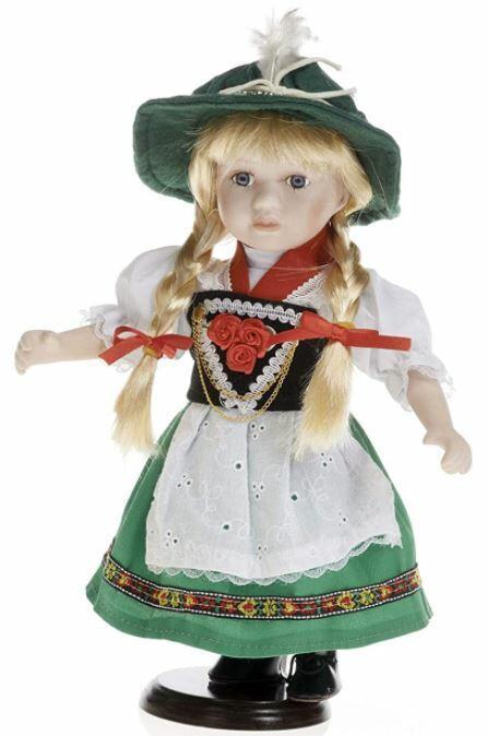 Bambola da Collezione in Porcellana Vestito Tirolese colore Verde RF Collection Qualità Made in Germany