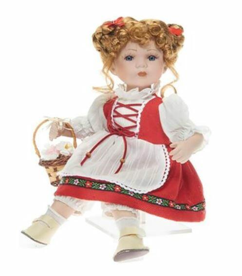 Bambola da Collezione in Porcellana Tirolese Seduta con cestino e Fiori RF Collection Qualità Made in Germany