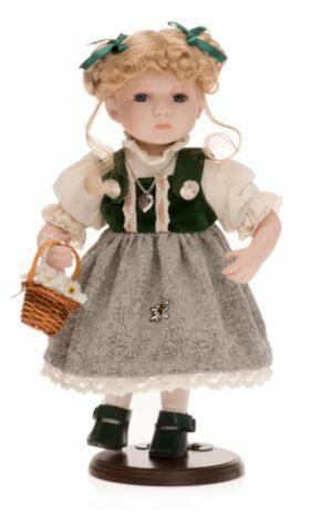 Bambola da Collezione in Porcellana Vestito Tirolese con Bella gonna Damascata RF Collection Qualità Made in Germany