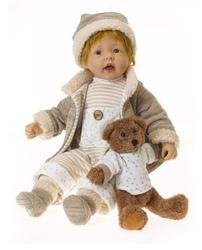 """Bambola da Collezione in Vinile  """"Adele`s Puppenhaus Collection"""", edizione limitata 999 pezzi Oskar Bambino con Orso RF Collection Qualità Made in Germany 205435"""