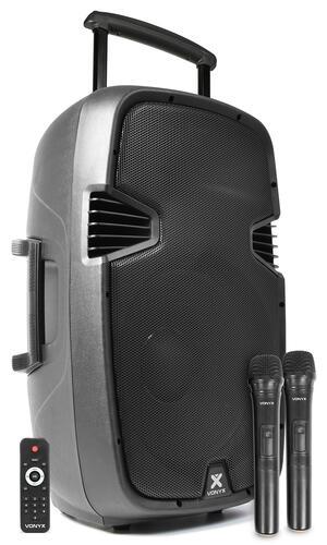 "Vonyx - SPJ-PA915 PORTABLE SOUND SYSTEM ABS 15"" 2 UHF/USB/MP3"