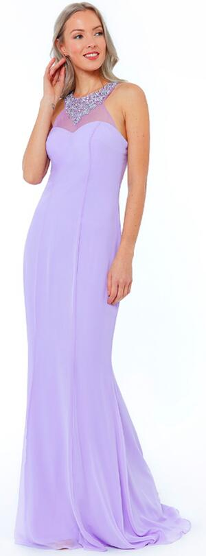 0710 LILAC DRESS IN LINED CHIFFON PLUS SIZE VERSION WITH RHINESTONES