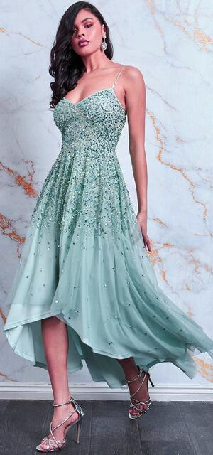 0712 SHORT LONG DRESS IN CHIFFON LINED WITH RHINESTONES AND SEQUINS
