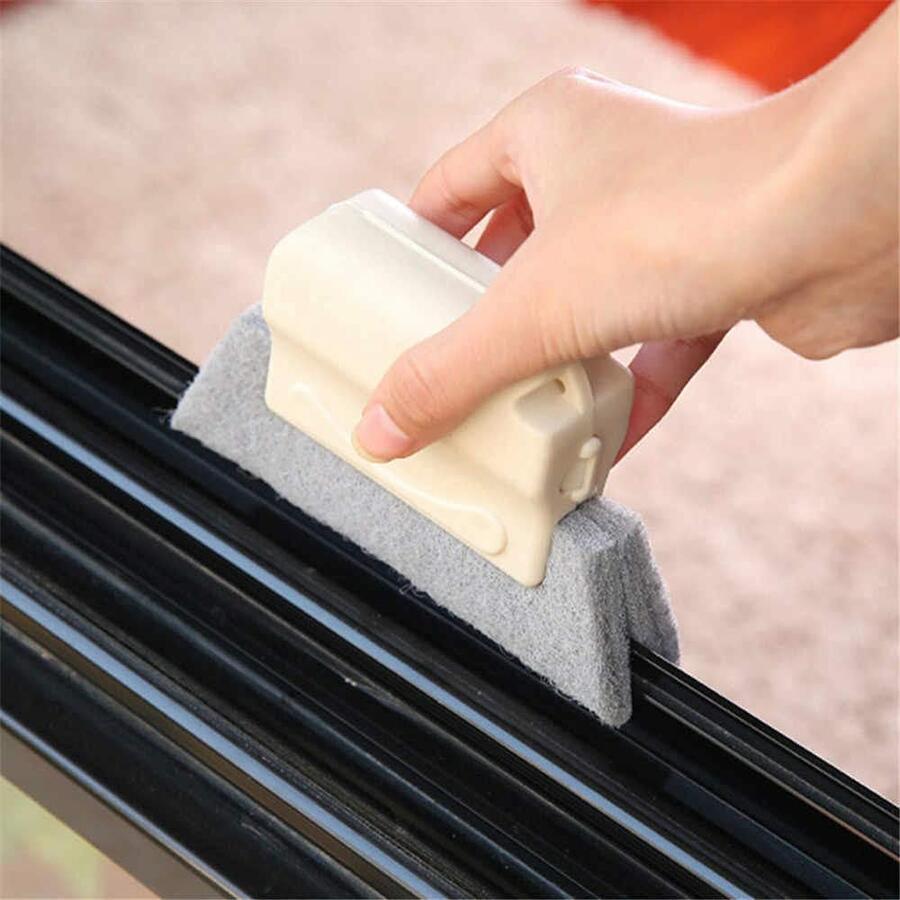 Spazzola Raschietto Pulizia Finestre Fessure Polvere Sporco Spazzole Strumento Spugna con manico Pulizia Angoli Colori Assortiti 14 cm