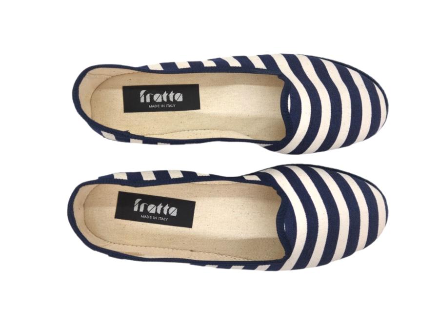 Friulana Fratta - 205  - Cotone rigato Bianco Blu